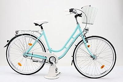 "28"" Zoll Alu Damen Fahrrad 3 Gang Shimano Nexus Nabendynamo RETRO Classic Korb eisblau"