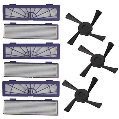 Ultra Air Ersatz-filter (6PC Filter + 3PC Seitenbürsten Ersatz für Neato Botvac 70e 75 80 85 by FEITONG)