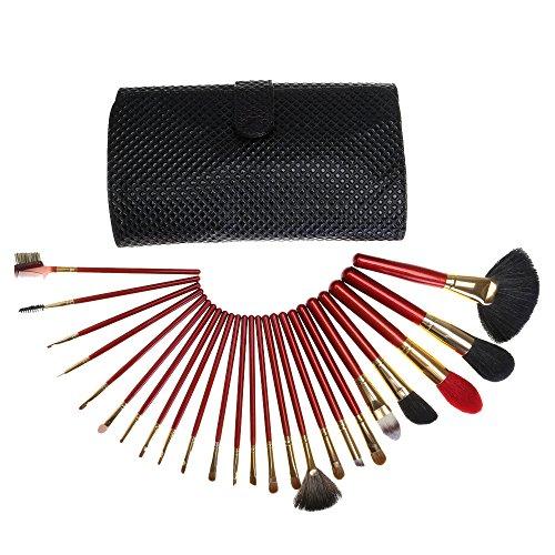 Brosse de maquillage de cheveux de fibre premium 24 pièces avec blush poudre de teint anti-cernes pinceaux de maquillage
