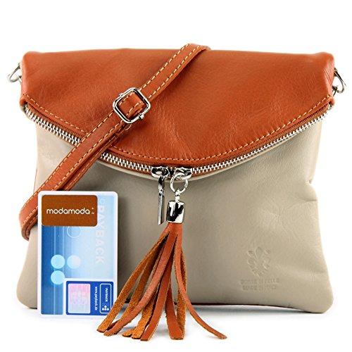 borsa di pelle ital. pochette pochette borsa tracolla Ragazze T139 piccola pelletteria T139 Beige/Camel