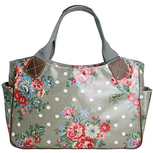 Miss Lulu Damen Wachstuch Handtasche Schultertasche Einkaufstasche Tasche Shopper Gepunktet Eule Blumen Schmetterling Blumen Grau