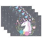 Unicornio manteles individuales de impresión, coosun manteles individuales resistente al calor resistente a las manchas Antideslizante Lavable poliéster cuadro Mats antideslizante lavable manteles individuales, 12'x18'