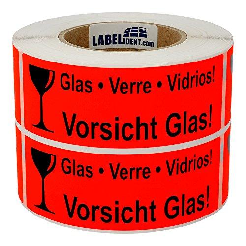 Labelident Warnetiketten (150 x 50 mm) - Vorsicht Glas - Verre - Vidrios - 1000 Versandaufkleber auf 76 mm (3 Zoll) Rolle, Papier leuchtrot, selbstklebend