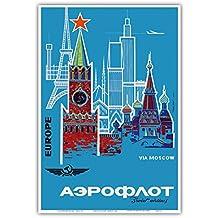 Europa über Moskau - Aeroflot (Russische Fluggesellschaft) - Russlands National-Fluglinie - Vintage Retro Fluggesellschaft Reise Plakat Poster c.1968 - Kunstdruck - 33cm x 48cm