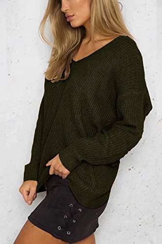 Yidarton Pull Femme Chandail à Manches Longues Casual Col V Sexy Dos Nu Pullover Sweater Jumper Tops Tricots Vert