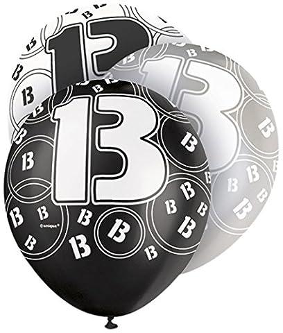Schwarz Glitz Alter 13 Geburtstag 12-Zoll-Latexballons - Packung Mit 6