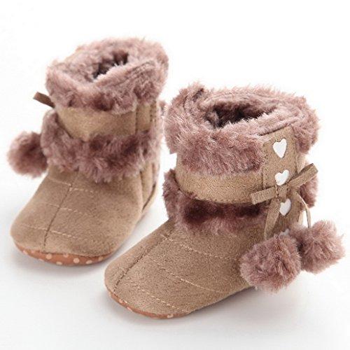 Flying Hedwig Kleinkind Baby Mädchen Schöne Winter Schuhe Prewalker Schneestiefel Krippe Schuhe Weiche Sohle Braun