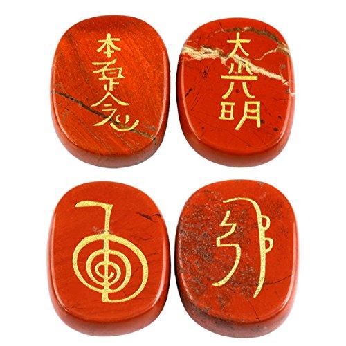 Shanxing 4 Stück Rosenquarz Edelstein Oval Kristall Eingravierten Chakra Symbol Energie Steine für Reiki Heilung Dekoration (Steine Chakra Energie,)