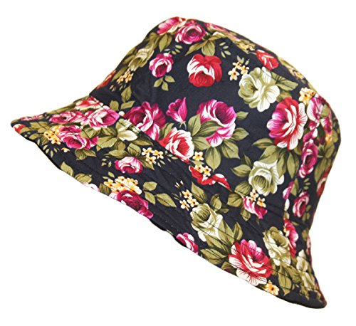 TOSKATOK® LADIES REVERSIBLE FLORAL COTTON BUSH BUCKET SUN HAT Test