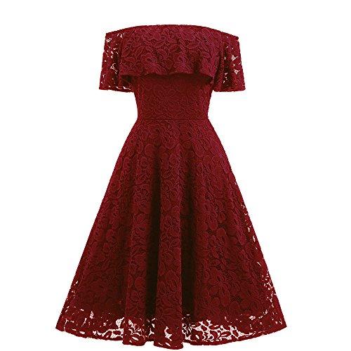 UFACE Damen Floral Elegant Sleeveless Vintage Rockabilly Swing Kleider Hepburn Kleid Ballkleid (Rot-491, S) (Vintage Cap Wildleder)