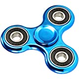 ILU Chrome Edition Fidget Spinner Premium Quality Best Stress Relieves Toys For Kids And Adults With Ceramic Bearing (Blue)