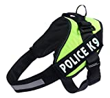 #10: Woolala Harness Vest Cool Comfort Nylon for Dogs Small/Medium/Large Girth, Purchase Comes with 2 Police K-9 Reflective Patches, Green, Large