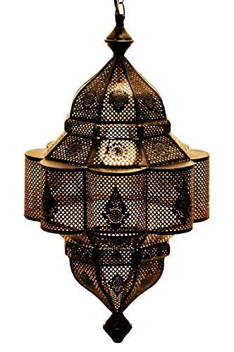 Orientalische Lampe Pendelleuchte Schwarz Enes 60cm E27 Lampenfassung | Marokkanische Design Hängeleuchte Leuchte aus Marokko | Orient Lampen für Wohnzimmer Küche oder Hängend über den Esstisch