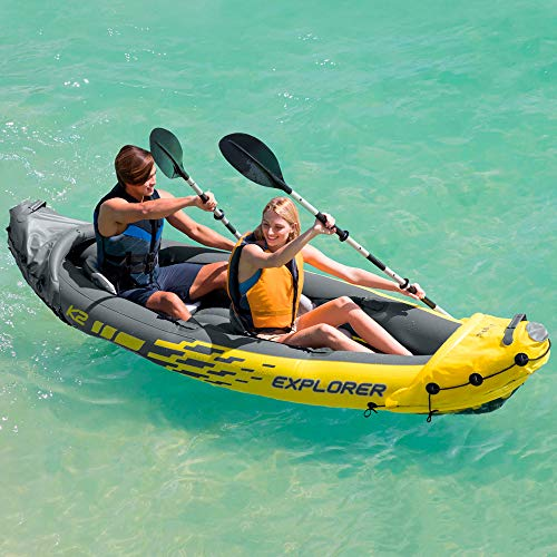 51TtrfhqjnL. SS500  - Intex Explorer K2 Kayak, 2-Person Inflatable Kayak Set with Aluminum Oars and High Output Air Pump
