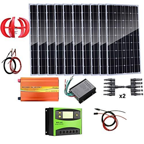 AUECOOR 1,4 kW Wind-Solar-Leistung: 400 W Windturbinen-Generator & 10 Stück 100 W Mono-Solarpanele & 3000 W Off-Gitter-Wechselrichter & Kabel-Anschluss & Zubehör Heimboot, Wohnmobil (Leistung Solar-generator)