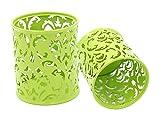 Stiftehalter, Cut-Out-Blumenmuster, Rund, Stiftehalter, für Bleistifte, Halter-Set, 2 Stück grün