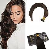 Ugeat 18 Zoll/45cm Flat Tip Echthaar Verlangerung Bonding 50g 1g/s Extensions Tressen Haarverlangerung 1g Echthaar #4 Dunkelbraun