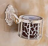 YYSCZJ Toilettenpapierhalterung, Badezimmer An Der Wand Montiert Raum Aluminium Heim Hotel Retro Mode, 2 Farben 17 * 15 * 11 cm (Farbe : Weiß)
