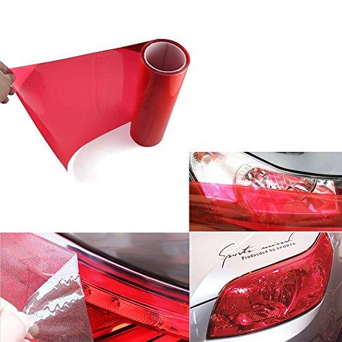 BAODE Auto Scheinwerfer Folie Tönungsfolie Aufkleber 200x30cm Scheinwerfer Rückleuchten Nebelscheinwerfer Aufkleber Rot