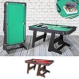 Billardtisch klappbar 5 Fuß FT Billard Tisch Pool Table Rollen 153x83cm Snookertable mit Rollen Multifunktionstisch (Korpus Schwarz, Tuchfarbe Grün)