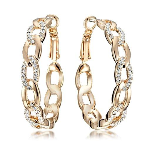 Gemini Ohrhänger (Rose Gold, 18K), attraktive Glitzer & Strass Elemente, Luxus Design, Kettenform, für jeden Anlass, beliebt bei Girls & Damen, 0,6 cm Weite