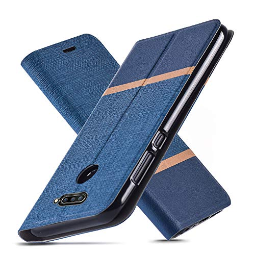 AModern LG V40 ThinQ Hülle, LG V40 Hülle, Ultra Slim Fit, Kickstand, Card Slot, TPU Bumper, Anti-Scratch, Flip Leder PU Wallet Case für LG V40 (Dark Blue)