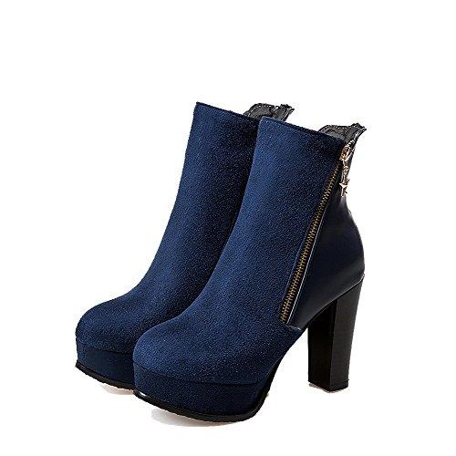 AllhqFashion Damen Rund Zehe Rein Niedrig-Spitze Hoher Absatz Stiefel mit Metallisch Blau