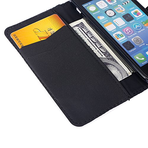 Hülle für iPhone 5C, Tasche für iPhone 5C, Case Cover für iPhone 5C, ISAKEN Malerei Muster Folio PU Leder Flip Cover Brieftasche Geldbörse Wallet Case Ledertasche Handyhülle Tasche Case Schutzhülle Hü Schmetterlinge Liebe