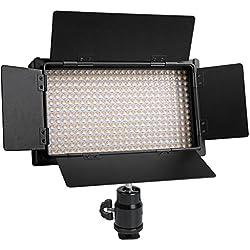 Polaroid 350 Foco de vídeo con temperatura de color variable para cámaras y videocámaras con LED superbrillantes de potencia superalta (3200K-5600K) y controles giratorios de atenuación de brillo con pestañas móviles (incluye pilas, cargador dual, filtro, adaptador de montaje y bolsa de transporte)