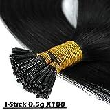 100 Ciocche Capelli Extension Cheratina 0.5g/Ciocca I-Tip Extension 50g 100% Remy Human Hair (20' 50cm #1 Jet Nero)