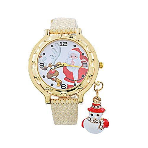 Souarts Damen Armbanduhr Einfach stil Weihnachtsmann Muster Schneemann Anhänge Analoge Quarz Uhr mit Batterie Beige (Einfache Schneemänner)