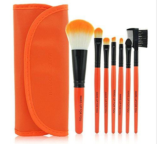 CAOLATOR Ensemble d'outils de maquillage Ombre à paupières brosse à sourcils pinceau eye liner pinceau de maquillage pour les maquilleurs et également amateurs 10PCS Porte-maquillage pinceau (Orange)