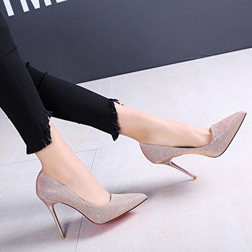 SFSYDDY-Sexy Fina Con Solo Zapatos A La Luz De Los Zapatos De Tacón En La Primavera Y El Otoño Las Nuevas Puntas De 9Cm Zapatos De Carrera Gold