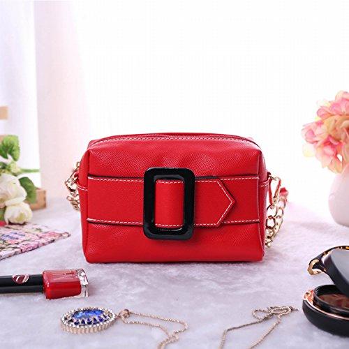 Einfache Mini Quadratische Tasche Schulter Diagonale Pakettasche Messenger Bag Rot