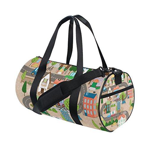 jstel City oder Town On Road Sport Gym Tasche für Frauen und Herren Duffle Reisetasche -
