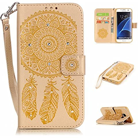 S7 Edge Custodia in pelle PU, Galaxy S7 Edge a portafoglio, M. JVisun strass Dream Catcher in pelle + morbida in silicone con tracolla di tasca custodia Flip Case per Samsung Galaxy S7 Edge G935 G935 F, Gold, For Samsung Galaxy S7 edge G935 G935F