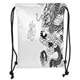 Drawstring Backpacks Bags,Ancient China Decorations,Mythological Dragon Cultural Features Oriental Symbolic Design,Black White Soft Satin,5 Liter Capacity,Adjustable String Closure