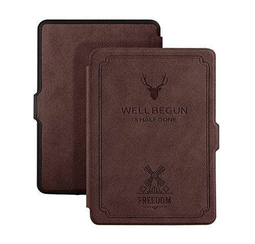 Cazcase Deer Pattern PU Leather Case with (Auto Wake/Sleep) Folio Flip Case Flip Cover for Amazon Kindle Paperwhite 2012 , 2013 , 2014 , 2015 , 2016 New 300 PPI Flip Cover Flip Case