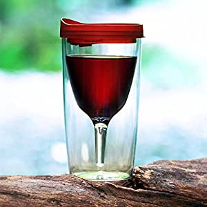Vino2Go Portable Wine Glass. Acrylic Travel Wine Sippy Cup. Great gift idea. (Merlot Red)