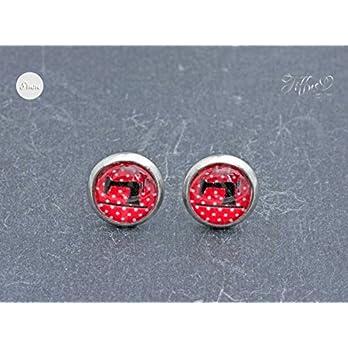 Ohrstecker Edelstahl Cabochon 8 mm – Dots Nähmaschine – rot