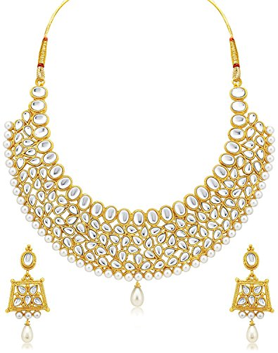 Meenaz Jewellery Gold Jewellery Set Necklace for womens Ear rings for girls Traditional One gram Copper Pearl Kundan Pendant Necklace Set Earrings For Women,Girls- Jewellery earring set NL-234  available at amazon for Rs.399