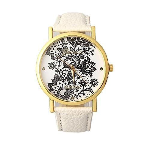 Alte Frauen Damen Lace gedruckt Analog Leder Armbanduhr Uhr neu
