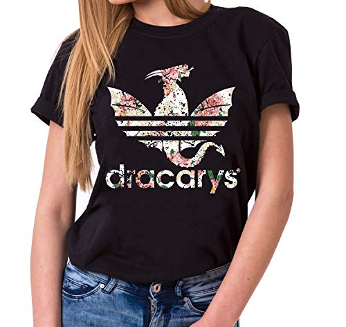 T-Shirt Damen Targaryen Thrones Game of stark Lannister Baratheon Daenerys Khaleesi tv blu-ray DVD, Farbe:Schwarz, Größe:XXL ()