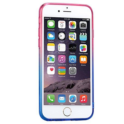 Coque iPhone 6, Housse iPhone 6S Jaune + Bleu Dégradé Double Silicone Souple Etui GrandEver TPU Back Cover Clair Transparente Case Caoutchouc Rubber Gel Cases Haute qualité Flexible Soft Back Case coq Rose Rouge + Bleu