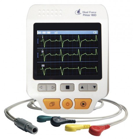 Heal Force Prince 180-D Handheld Portable ECG Monitor, Software and USB Cable - Now with FREE UK Mains Adaptor, 4-lead Wires and 25 Disposable Electrodes!