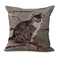"""Eazyhurry Gray Fat Cat Print Linen Decorative Throw Cushion with Filler Office Chair Seat Back Cushion Decorative Pillow with Insert 18"""" X 18"""""""