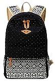 EXTRA big. Ladies Vintage Canvas Backpack Retro Vintage backpack for outdoor camping picnic Außflug Sports University backpack schoolbag C5095 2 – 5 working day delivery (Art2/Black)