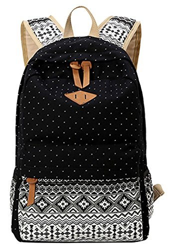 EXTRA big. Ladies Vintage Canvas Backpack Retro Vintage backpack for outdoor camping picnic Außflug Sports University backpack schoolbag C5095 2 – 5 working day delivery (Art2/Black)