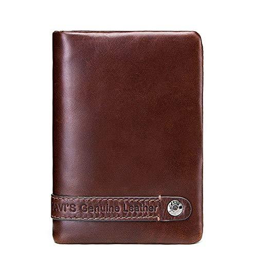 L.Z.HHZL Herren Geldbörse Herren Leder Brieftasche Leder Geldbörse Vintage Short Style Multi-Card Pocket Wallet Verarbeitung Benutzerdefinierte Brieftasche (Color : Brown, Size : S)