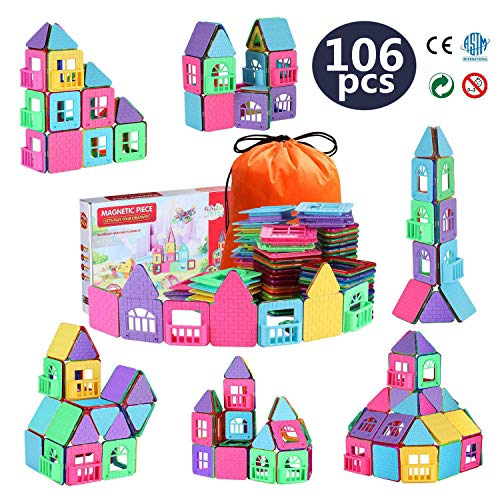 Gifts2U Magnetic Building Blocks, 106pcs Construction Kit for Kids with Guide Booklet Portable Backpack, Magnet Stacking Set, Creative Educational STEM Toys